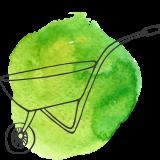 Wheelbarrow on a light green watercolour background