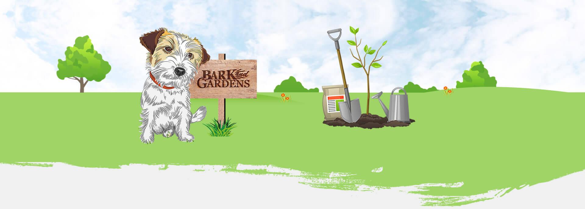 Artwork of a Bristol garden and a Jack Russel for Bristol Based Gardener, Bark and Gardens